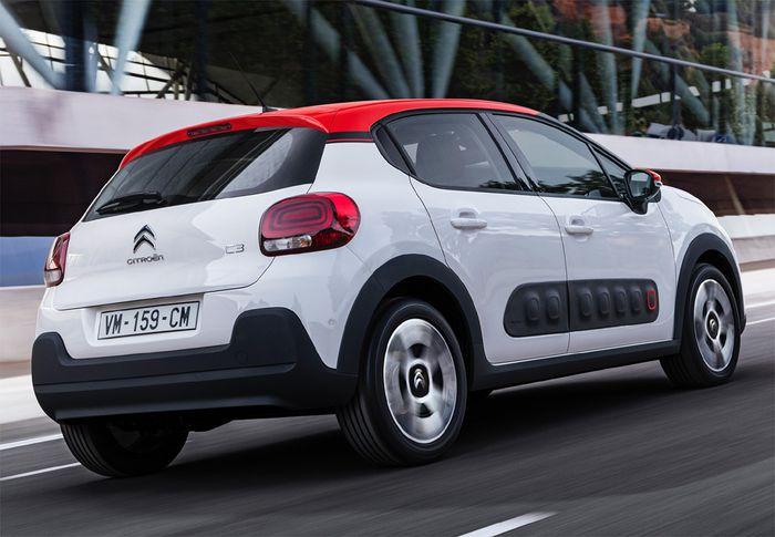 Plano trasero exterior del Citroën C3